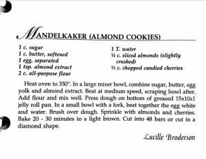 Mandelkaker (Almond Cookies), A Taste of History Cookbook, Watford City Centennial Celebration