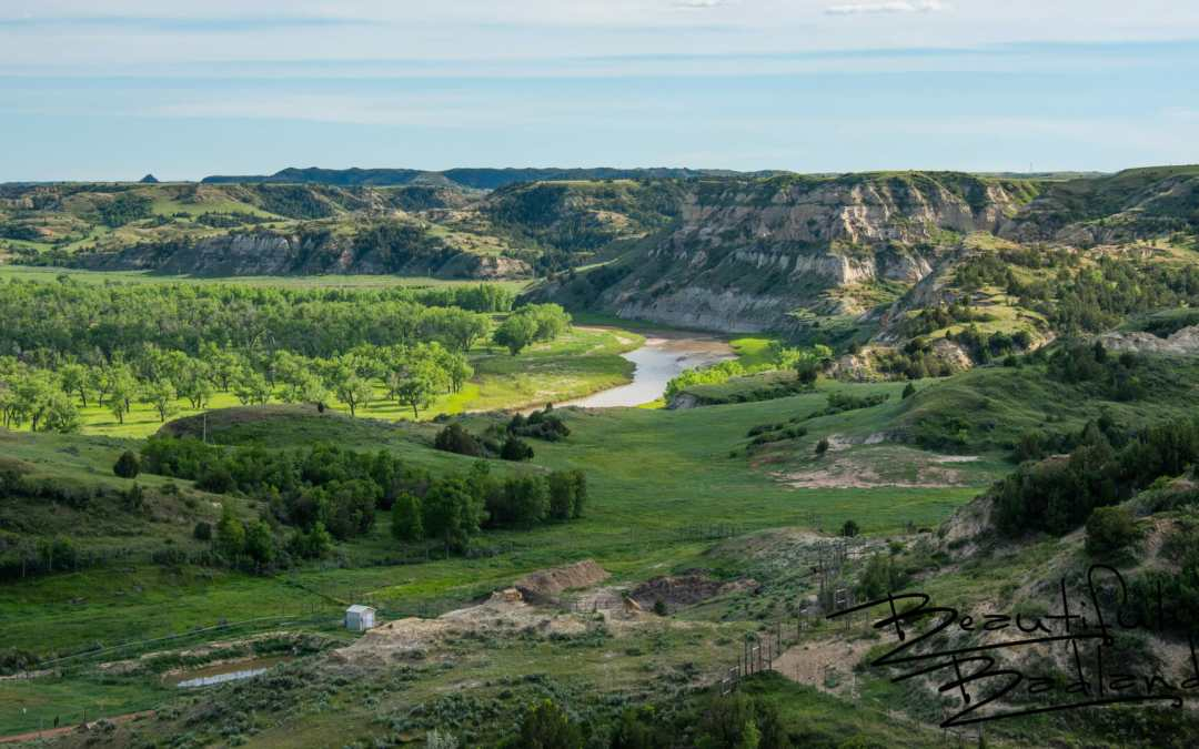Looking South Onto the Little Missouri River, from Tjaden Terrace at Medora, North Dakota