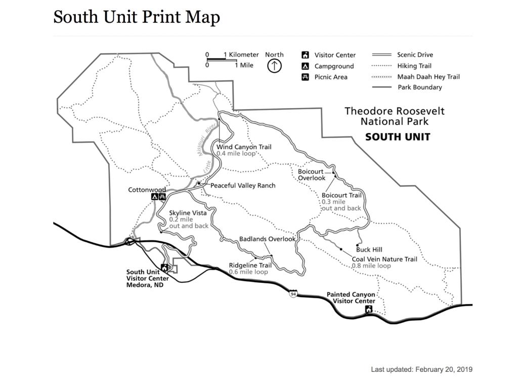 National Park Print Map Theodore Roosevelt National Park 2019