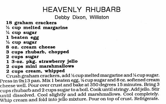 Heavenly Rhubarb, Women's Missionary Fellowship Cookbook