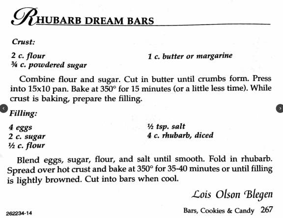 Rhubarb Dream Bars, A Taste of History Cookbook