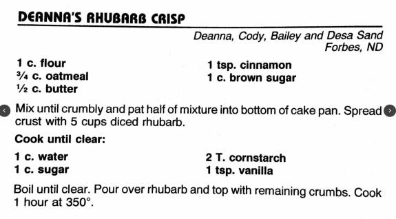 Deanna's Rhubarb Crisp, Cowboy Hall of Fame Cookbook