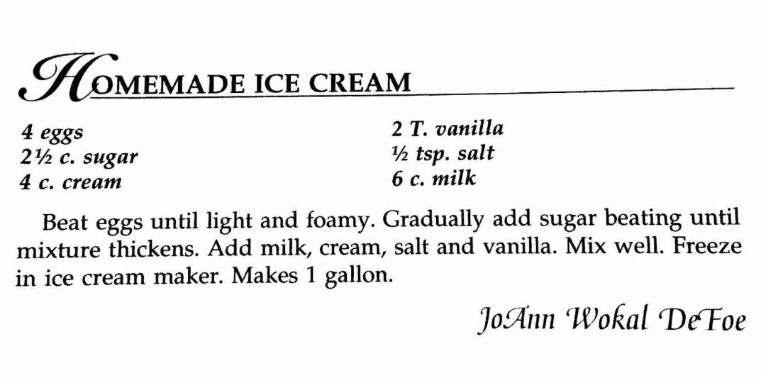 Homemade Ice Cream, A Taste of History Cookbook, Watford City, ND