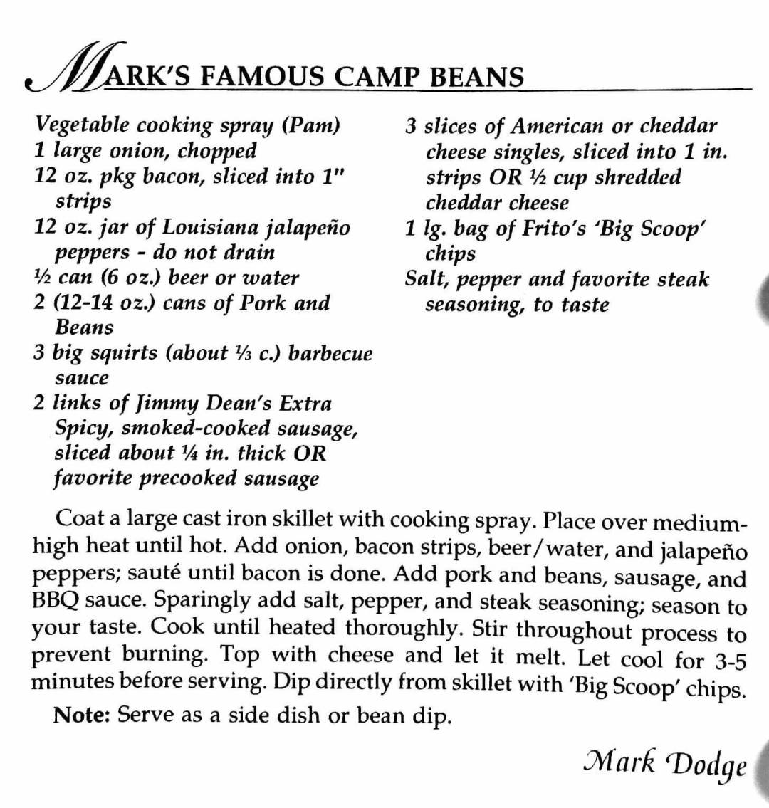 Mark's Famous Camp Beans, A Taste of History Cookbook, Watford City, ND