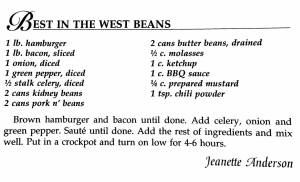 Best in the West Beans, A Taste of History Cookbook, Watford City, ND