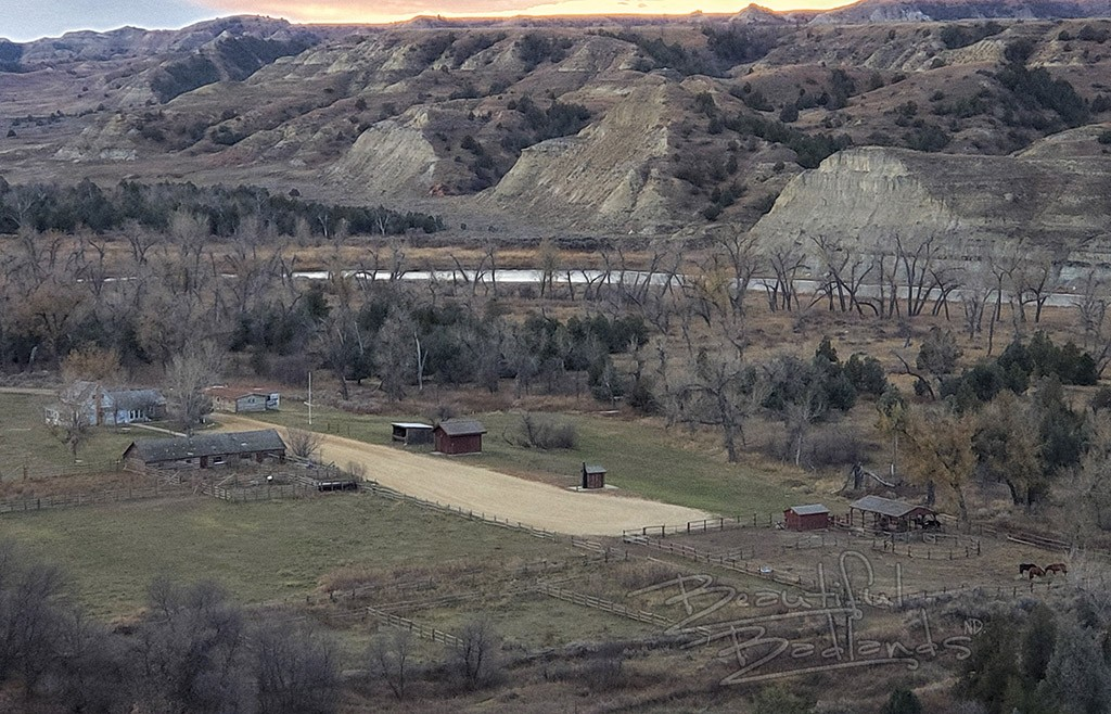 Peaceful valley ranch at sunset