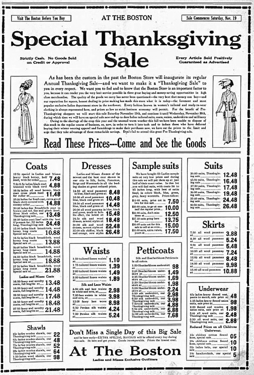Special Thanksgiving Sale, Williston Graphic. November 17, 1910