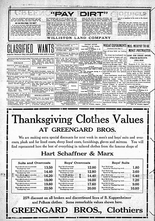 Thanksgiving Clothes Values, Williston Graphic. Nov ember 18, 1909