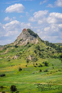 A challenge to climb Chimney Butte in Emerald Green of the Grasslands and Badlands, North Dakota