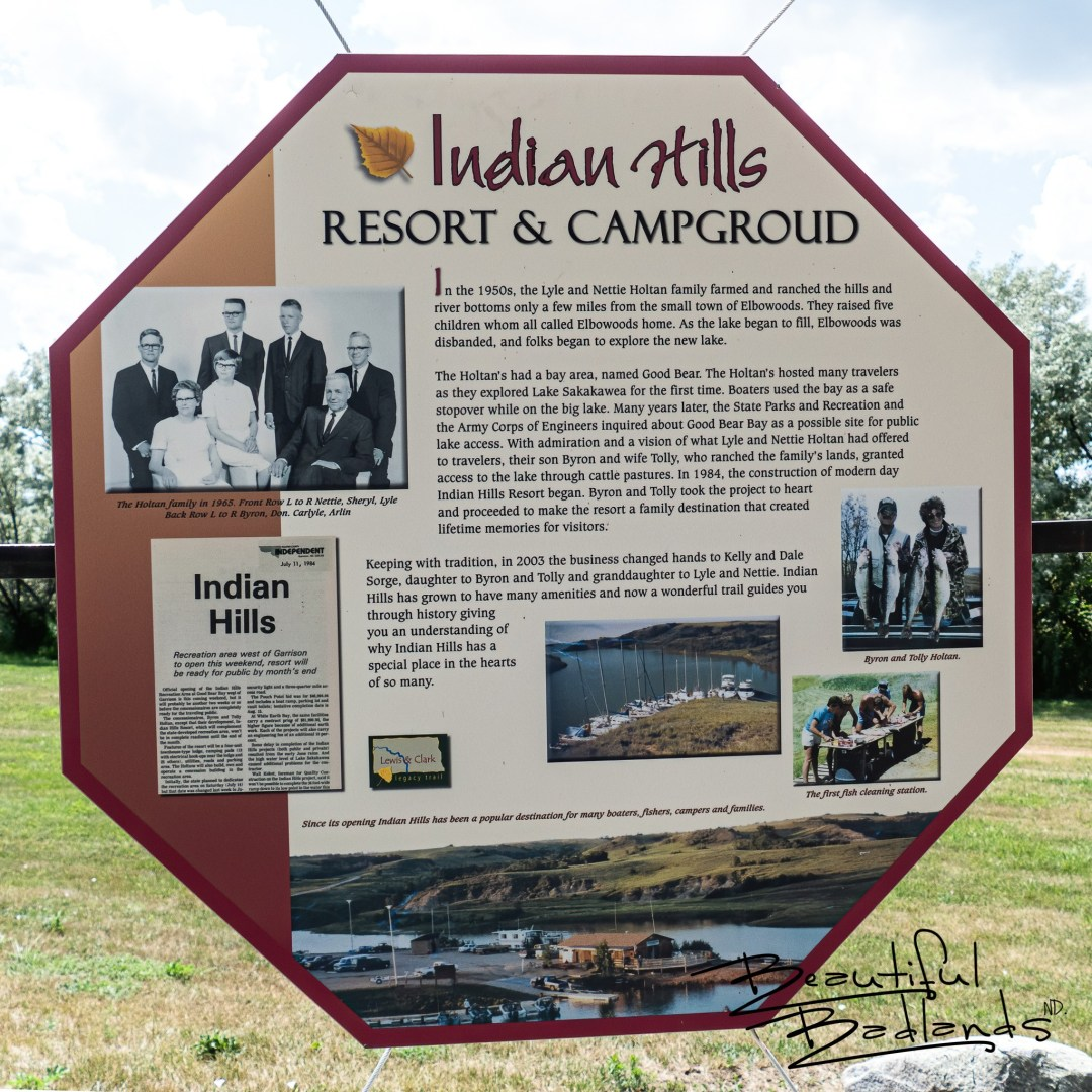History of Indian Hills Resort and Campground on Information Board at Indian Hills Recreation Area