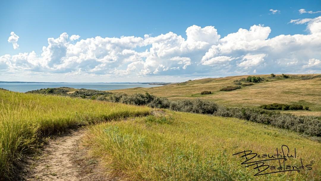 The Nux Baa Ga Trail heading west, on the north shores of Lake Sakakawea near Good Bear Bay at Indian Hills Recreation Area, Garrison, North Dakota.