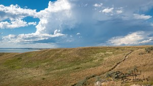 Nux Baa Ga Trail Leads to Stormy Summer Skies at Indian Hills Recreation Area in North Dakota.