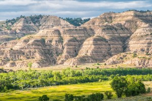 strata in the hillside at the Theodore Roosevelt National Park.