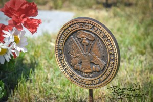 Veterans' graves are decorated to denote special honor at the Medora Cemetery in Billings County, North Dakota.
