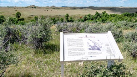 Interpretive sign for custer snow camp