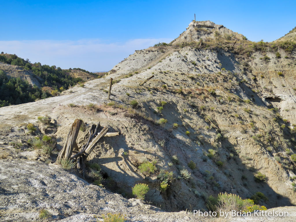 The stark ruggedness, high elevation, narrow trail, and extremely deep drop offs make Devils Pass a favorite place on the Maah Daah Hey Trail, North Dakota.
