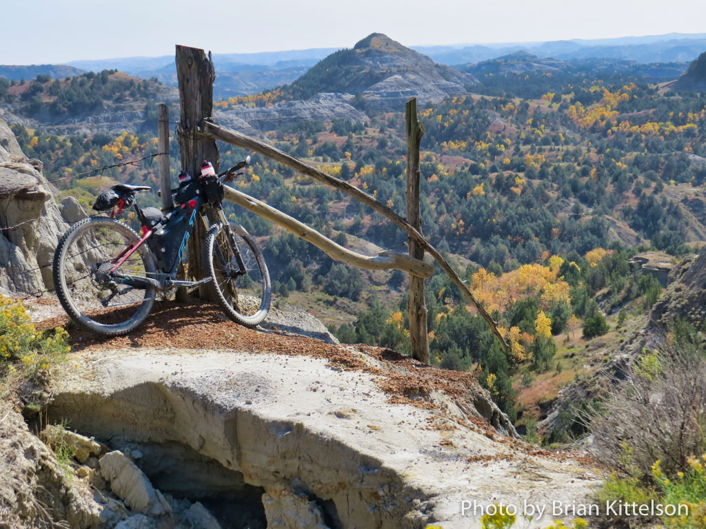 Ride with care on quickly eroding ground on the Maah Daah Hey Trail, North Dakota. Beautiful vistas are the reward.