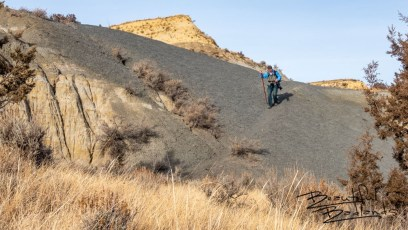 Following Game Trails Over Bentonite on Upper Caprock Coulee Trail in the North Unit of Theodore Roosevelt National Park, North Dakota