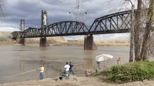 Paddlefish Snagging in May at the Fairview Bridge, on the Yellowstone River. Fairview, North Dakota.