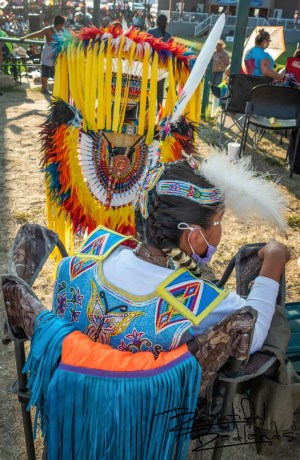 Beautifully detailed beadwork and colorful regalia is abundant at the celebration in New Town, North Dakota