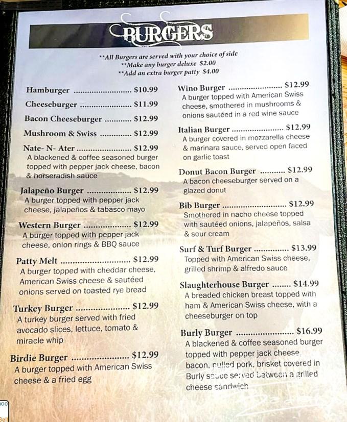 Great Burgers at Burly's Roughrider Bar & Steakhouse, Belfield, North Dakota