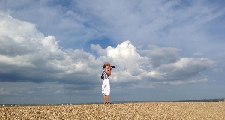 Alison Avery taking photographs at Hurst Castle Spit, Hampshire