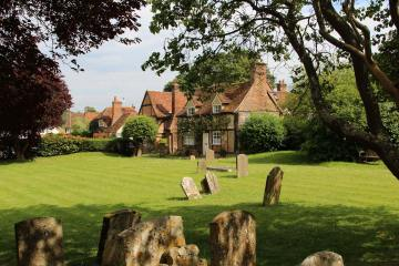 Church Cottage, from St. Mary's Churchyard, Turville (Vicar of Dibley village)
