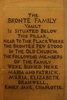 Brontë family vault engraving on pillar, St. Michael and all Angels Church, Haworth