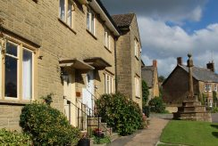 George and Crown Cottages and Medieval Village Cross, Hinton St. George
