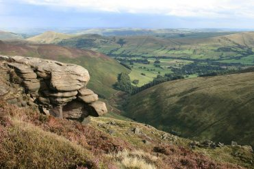 Grindsbrook Clough, the Vale of Edale and the Great Ridge, from Kinder Plateau