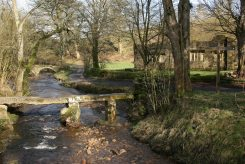 Wycoller Beck, Clapper Bridge and Wycoller Hall, Wycoller
