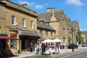 Ice cream sellers, outside Hayman-Joyce and Lygon Arms Hotel, Broadway, Cotswolds