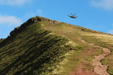 Helicopter above Corn Du, Brecon Beacons