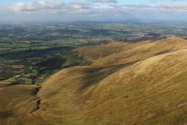 Usk Valley and Brecon, from Corn Du, Brecon Beacons