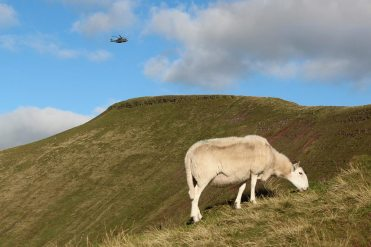 Helicopter above Pen y Fan, Brecon Beacons