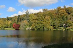 Boat House and Temple of Flora, across Lake, Stourhead