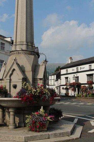 Lucas Memorial Fountain and The Bear Hotel, Crickhowell
