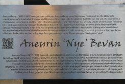 Biography of Aneurin Bevan, on stainless steel artwork, Tredegar