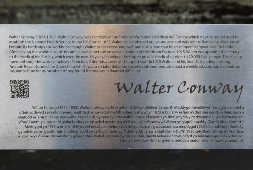 Biography of Walter Conway, on stainless steel artwork, Tredegar