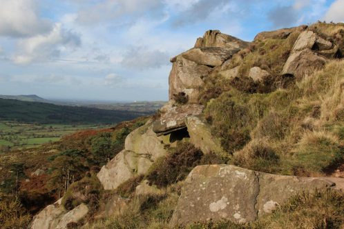 Cheshire Plain to North Wales, from crags, The Roaches