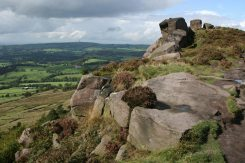 Cheshire Plain to North Wales, from gritstone boulders, The Roaches