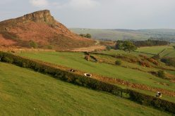 Hen Cloud and Staffordshire Moorlands, from lane below The Roaches