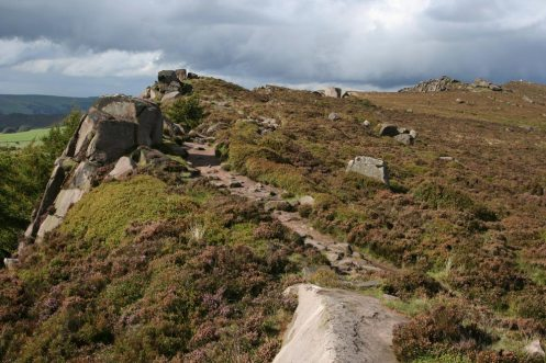 Path, gritstone ridge, The Roaches