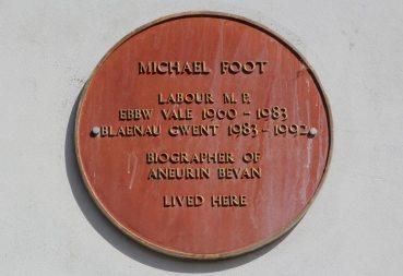 Plaque, on home of Michael Foot, 10 Morgan Street, Tredegar