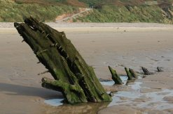 Wreck of the ship, Helvetia, Rhossili Beach, Rhossili