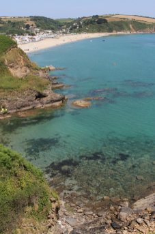 Portgiskey Cove and Pentewan Sands, from coast path