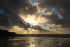 Sunset over Gulland Rock, Hayle Bay, Polzeath