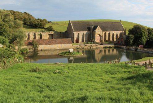 Mill Pond and Abbey Tithe Barn, Abbotsbury