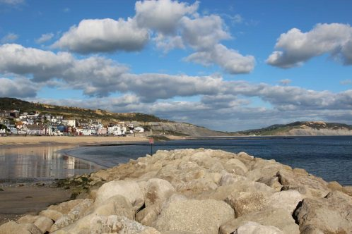 Sea defences, from North Wall of Harbour, Lyme Regis