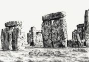 Stonehenge. Limited Edition Pen and Ink Print, by Alison Avery